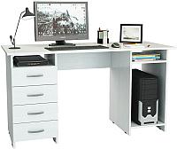 Компьютерный стол MFMaster Милан-6 (0120) / МСТ-СДМ-06-БТ-03 (белый) -
