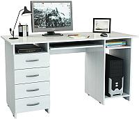 Компьютерный стол MFMaster Милан-6П (0120) / МСТ-СДМ-6П-БТ-03 (белый) -