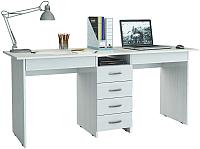 Письменный стол MFMaster Тандем-2Я (0120) / МСТ-СДТ-2Я-БТ-03 (белый) -