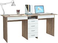 Письменный стол MFMaster Тандем-2Я (0120) / МСТ-СДТ-2Я-СБ-03 (дуб сонома/белый) -