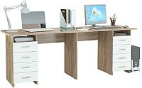 Письменный стол MFMaster Тандем-3 (0120) / МСТ-СДТ-03-СБ-03 (дуб сонома/белый) -