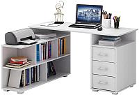Компьютерный стол MFMaster Барди-1 / МСТ-УСБ-01-БТ-16 (белый) -