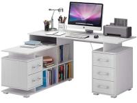 Компьютерный стол MFMaster Барди-3 / МСТ-УСБ-03-БТ-16 (белый) -