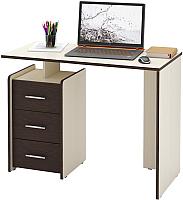 Письменный стол MFMaster Слим-2 / МСТ-ССЛ-02-ДМ-ВМ-16 (дуб молочный/венге) -