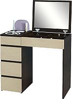 Туалетный столик с зеркалом MFMaster Триверо-1 / МСТ-ТСТ-01-ВД-16 (венге/дуб молочный) -