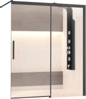 Стеклянная шторка для ванны RGW SC-43-B / 34114312-14 (черный/прозрачное стекло) -