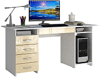 Компьютерный стол MFMaster Милан-6Я / МСТ-СДМ-6Я-БЖ-ГЛ (белый/бежевый) -