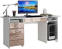 Компьютерный стол MFMaster Милан-6Я / МСТ-СДМ-6Я-БА-ГЛ (белый/капучино) -