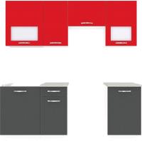 Готовая кухня ВерсоМебель Эко-5 2.0 (антрацит/красный чили) -
