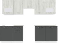 Готовая кухня ВерсоМебель Эко-5 2.7 (дуб крафт белый/антрацит) -