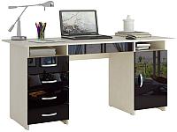 Письменный стол MFMaster Милан-7Я / МСТ-СДМ-7Я-МЧ-ГЛ (дуб молочный/черный) -