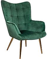 Кресло мягкое Седия Bogema (велюр зеленый/золото) -