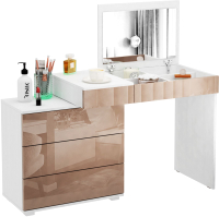 Туалетный столик с зеркалом MFMaster Нуар-6 / МСТ-ТСН-06-БА-ГЛ (белый/капучино) -