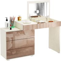 Туалетный столик с зеркалом MFMaster Нуар-6 / МСТ-ТСН-06-МК-ГЛ (дуб молочный/капучино) -