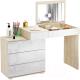 Туалетный столик с зеркалом MFMaster Нуар-6 / МСТ-ТСН-06-СБ-ГЛ (дуб сонома/белый) -