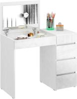 Туалетный столик с зеркалом MFMaster Триверо-1 / МСТ-ТСТ-01-ББ-ГЛ (белый) -