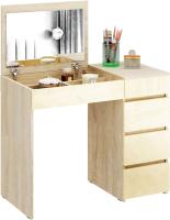 Туалетный столик с зеркалом MFMaster Триверо-1 / МСТ-ТСТ-01-СЖ-ГЛ (дуб сонома/бежевый) -