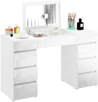 Туалетный столик с зеркалом MFMaster Триверо-2 / МСТ-ТСТ-02-ББ-ГЛ (белый) -