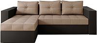 Диван угловой Настоящая мебель Константин НПБ экокожа/рогожка левый (черный/бежевый) -