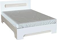 Двуспальная кровать Ricco Эврика 160x200 (шимо светлый/белый глянец) -