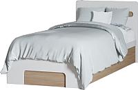 Односпальная кровать Ricco Эврика 90x200 (шимо светлый/белый глянец) -