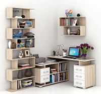 Комплект мебели для кабинета MFMaster Краст УШ-3-04 / Краст-3-04-СБ-16 (дуб сонома/белый) -