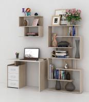 Комплект мебели для кабинета MFMaster Слим УШ-1-06 / Слим-1-06-ДС-БТ-16 (дуб сонома/белый) -