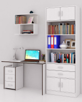 Комплект мебели для кабинета MFMaster Слим УШ-2-01 / Слим-2-01-БТ-16 (белый) -
