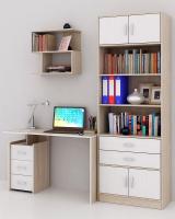 Комплект мебели для кабинета MFMaster Слим УШ-2-01 / Слим-2-01-ДС-БТ-16 (дуб сонома/белый) -