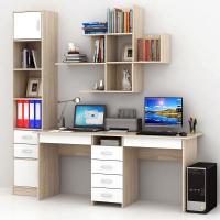 Комплект мебели для кабинета MFMaster Тандем УШ-2Я-06 / Тандем-2Я-06-СБ-16 (дуб сонома/белый) -