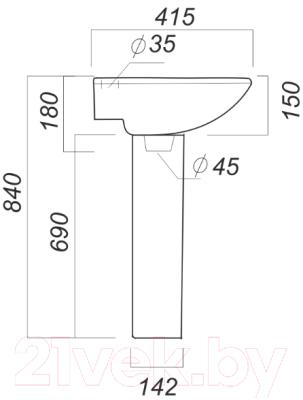Умывальник Sanita Аттика 48 ATC46SAWB01 + ATCSAPD01