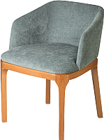 Кресло мягкое Alesan Мак (черешня лак/микровелюр серо-голубой) -
