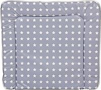 Пеленальный матрас Polini Kids Звезды мягкий 77x72 (белый/серый) -