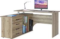 Компьютерный стол Сокол-Мебель КСТ-109 с тумбой (левый, дуб делано) -