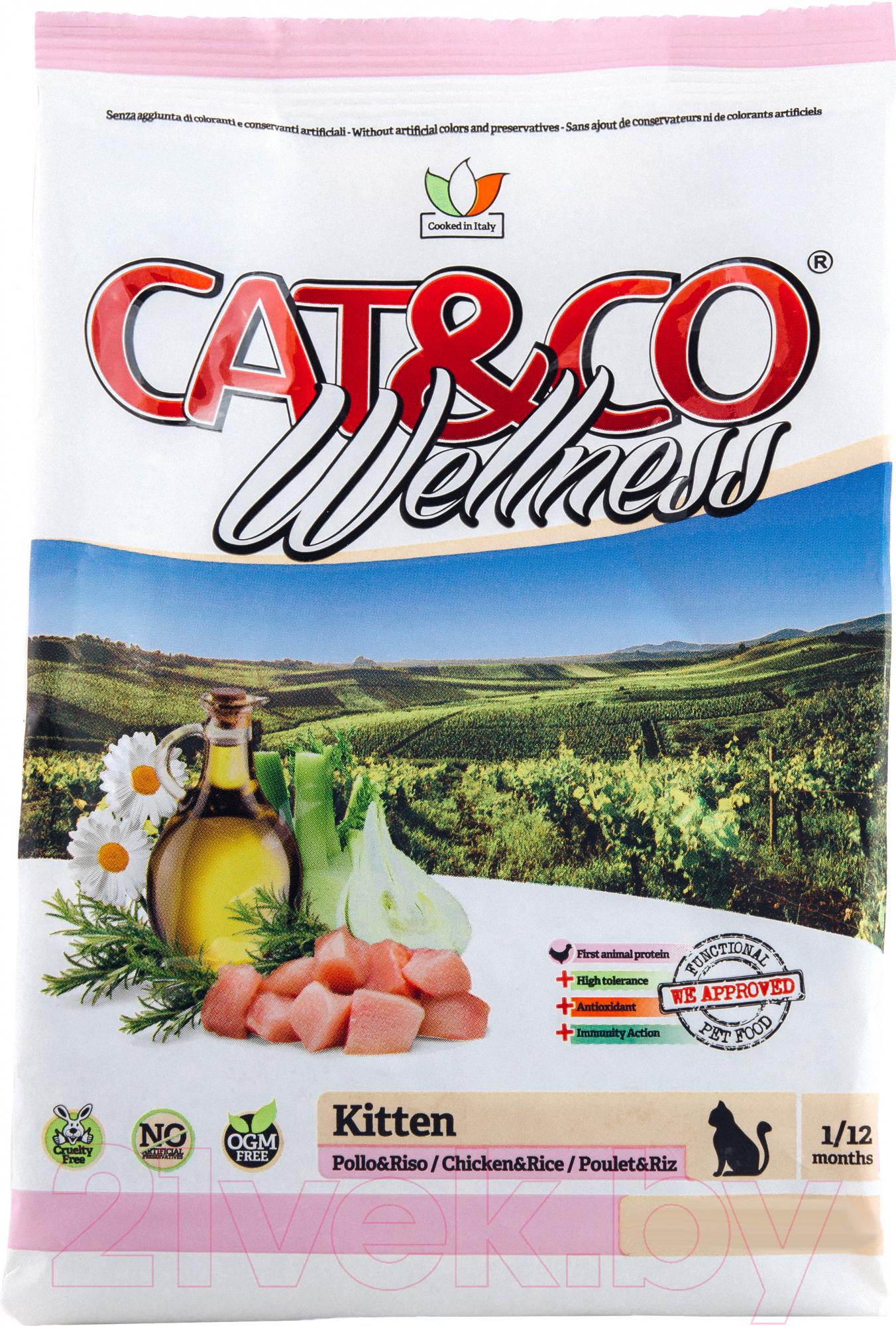 Купить Корм для кошек Adragna, Cat&Co Wellness Kitten Chicken&Rice (1.5кг), Италия
