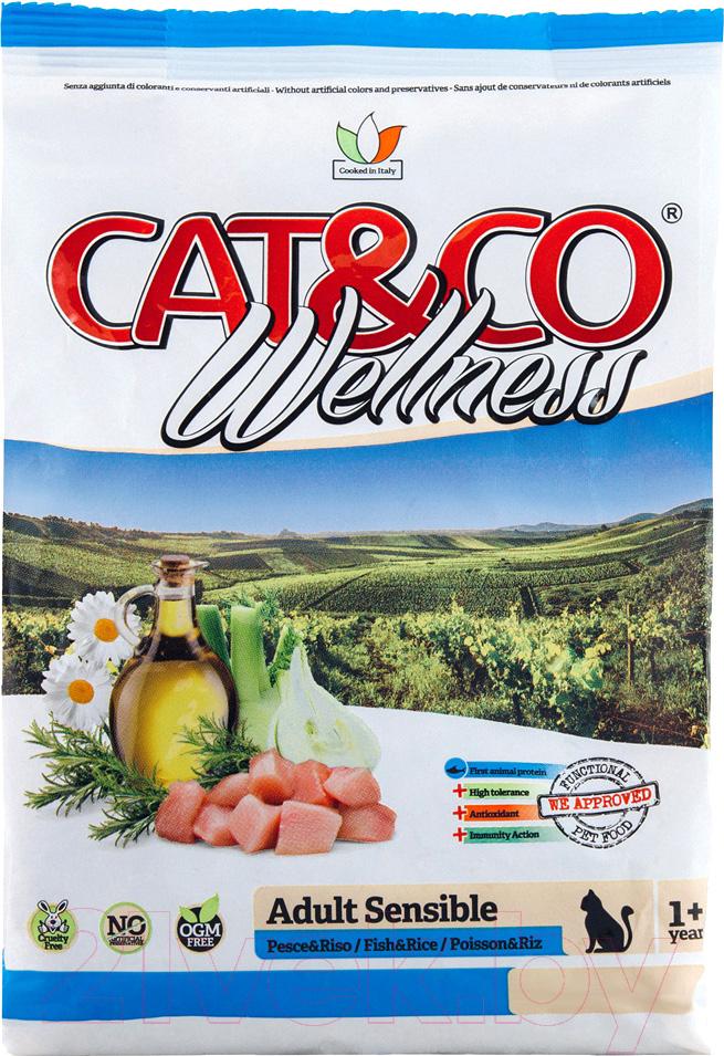 Купить Корм для кошек Adragna, Cat&Co Wellness Adult Sensible Fish&Rice (10кг), Италия