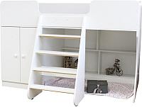 Кровать-чердак Можга Капризун 2 со шкафом / Р441 (белый) -