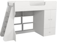 Кровать-чердак детская Можга Капризун 2 со шкафом / Р441 (белый) -