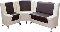 Уголок кухонный мягкий Компас-мебель КС-034 (темно-коричневый/молочный) -