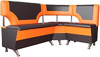 Уголок кухонный мягкий Компас-мебель КС-018 правый (черный/оранжевый) -