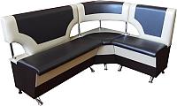 Уголок кухонный мягкий Компас-мебель КС-018 правый (черный/молочный) -
