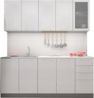 Готовая кухня ДСВ Олива 2.0 (белый металлик) -
