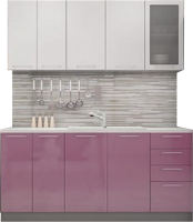Готовая кухня ДСВ Олива 1.8 (белый металлик/сирень металлик) -