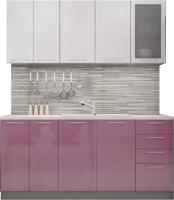Готовая кухня ДСВ Олива 1.6 (белый металлик/сирень металлик) -