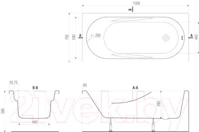 Ванна акриловая Cersanit Mito Red 150x70 (с ножками)