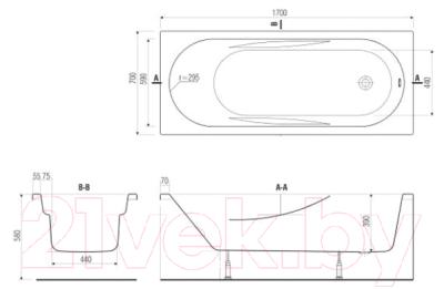 Ванна акриловая Cersanit Mito Red 170x70 (с ножками)