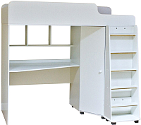 Кровать-чердак детская Можга Капризун 5 с рабочей зоной / Р440 (белый) -