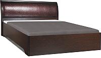 Двуспальная кровать Олмеко Мона 06.297 (кожзам глянец/крокодил коричневый) -