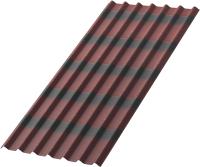 Лист кровельный Onduline Tile x5 SR-130 с тенью 3D (1950x960, красный) -