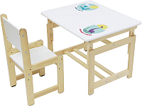 Комплект мебели с детским столом Polini Kids Eco 400 SM Дино 1 (белый/натуральный) -